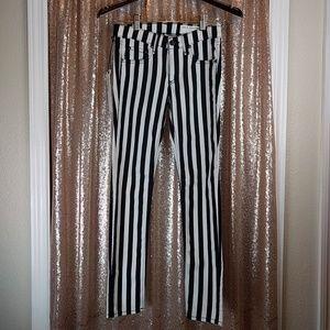 Black and White Striped Capri Jean SZ25 $195
